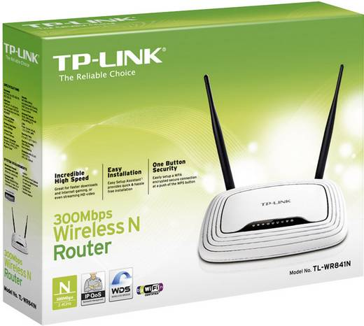 WiFi router TP-LINK TL-WR841N 2.4 GHz 300 Mbit/s