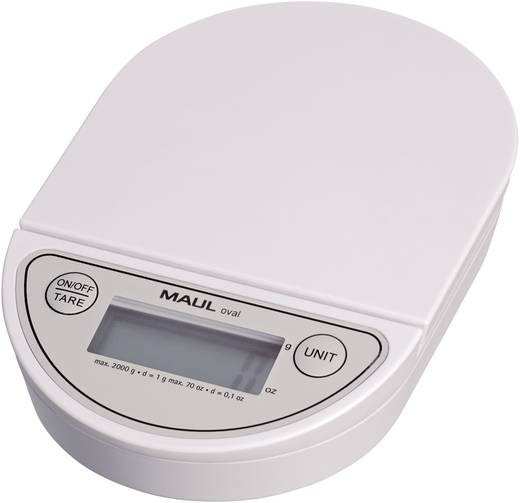 Maul MAULoval Brievenweegschaal Weegbereik (max.) 2 kg Resolutie 1 g Werkt op batterijen Wit