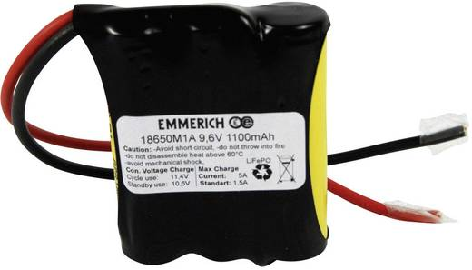 LiFePO4 Accupack 9.6 V 1100 mAh 18650 Kabel Emmerich LiFePO4-Pack