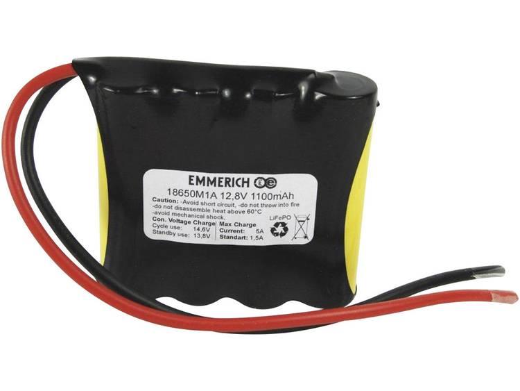 Emmerich LiFePO4-Pack Accupack LiFePO4 12.8 V 1100 mAh 18650 Kabel