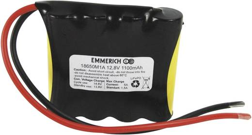 Emmerich LiFePO4-Pack Accupack 4 18650 Kabel LiFePO4 12.8 V 1100 mAh