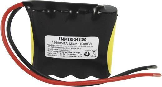 LiFePO4 Accupack 12.8 V 1100 mAh 18650 Kabel Emmerich LiFePO4-Pack