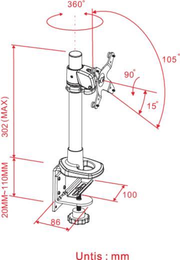 "Xergo Swivel Monitor-tafelbeugel 25,4 cm (10"") - 76,2 cm (30"") Kantelbaar en zwenkbaar, Roteerbaar"