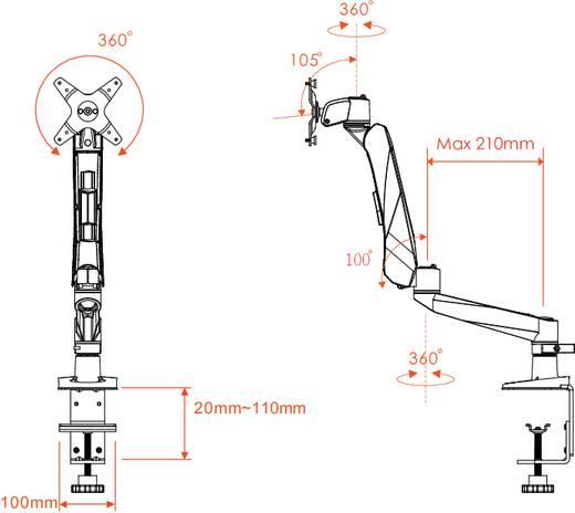 "Monitor-tafelbeugel SpeaKa Professional SuperFlex mit Grommet- und C-Klemme 25,4 cm (10"") - 76,2 cm (30"") Kantelbaar en"