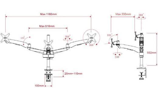 "Monitor-tafelbeugel SpeaKa Professional Flex 3fach mit Grommet- und C-Klemme 25,4 cm (10"") - 61,0 cm (24"") Kantelbaar en"