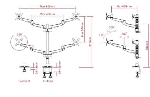 "SpeaKa Professional Swivel 4 fach 4-voudig Monitor-tafelbeugel 25,4 cm (10"") - 68,6 cm (27"") Kantelbaar en zwenkbaar, Ro"