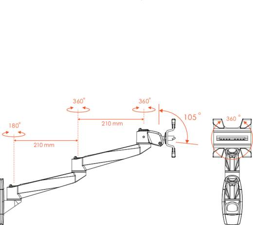 """Xergo SuperSwivel voor Apple Monitor-wandbeugel 25,4 cm (10"""") - 76,2 cm (30"""") Kantelbaar en zwenkbaar, Roteerbaar"""