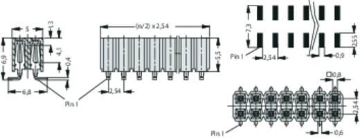 Female header (standaard) Aantal rijen: 2 Aantal polen per rij: 20 Fischer Elektronik BL LP 6 SMD/ 40/S 1 stuks