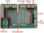 Printplaat inclusief connectoren voor Raspberry Pi