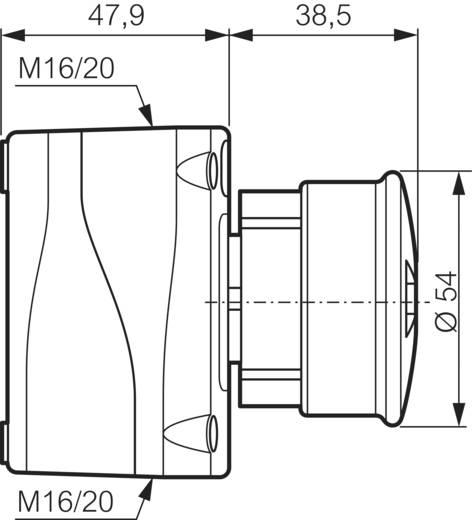 Paddestoelschakelaar In behuizing, Met beschermde kraag 240 V/AC 2.5 A 1x NC BACO LBX130091 IP66 1 stuks