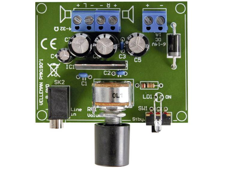Velleman 2 x 5 W versterker voor MP3-speler MK190 Bouwpakket 6 14 V-DC