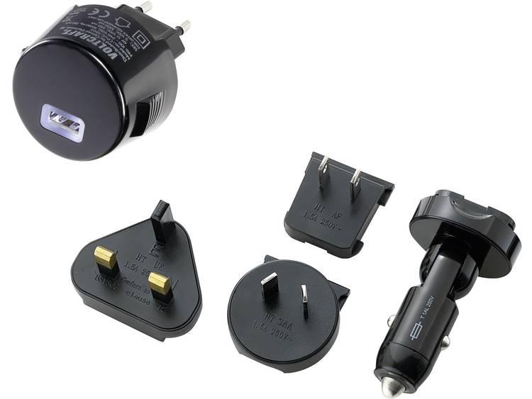VOLTCRAFT CPUC-1000 USB-oplader Set van 5 Auto, Thuislader Uitgangsstroom (max.) 1000 mA 1 x USB Met