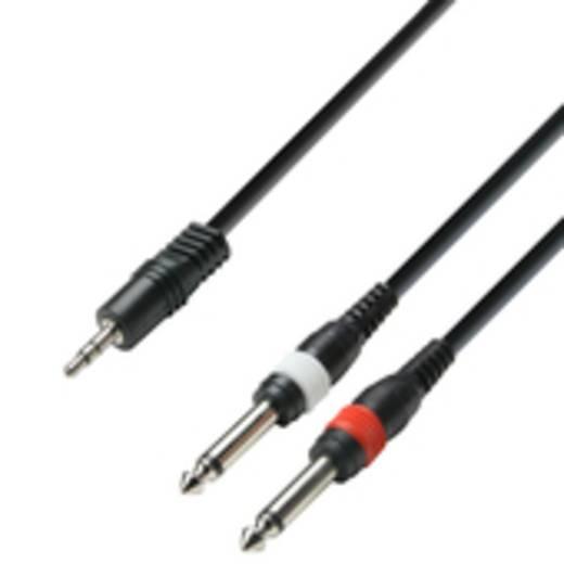 Audiokabel 3,5 mm jackplug/2 x 6,3 mm jackplug