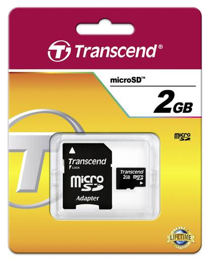 Transcend 2 GB microSD-kaart Class 2 incl. SD-adapter
