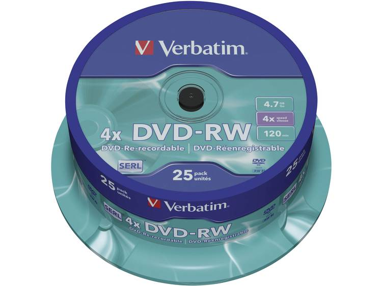Verbatim DVD-RW 43639 4.7 GB 120 min. 25 Stuks