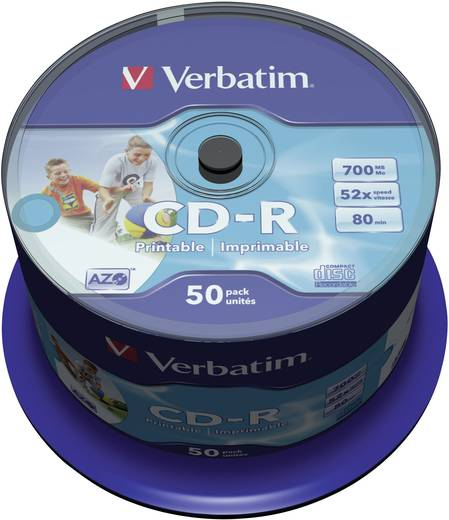 Verbatim 43309 CD-R 80 disc 700 MB 50 stuks Spindel Bedrukbaar