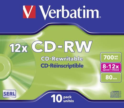 Verbatim 43148 CD-RW disc 700 MB 10 stuks Jewelcase Herschrijfbaar