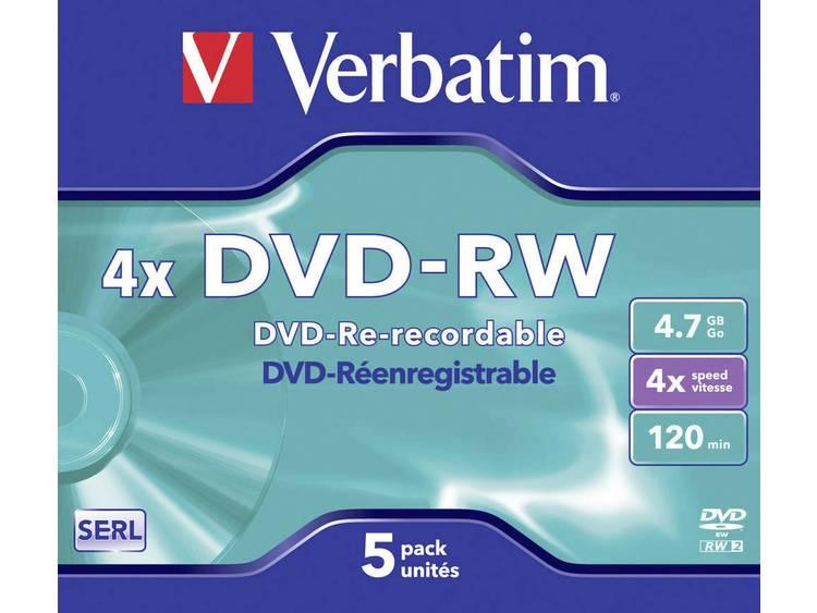 Verbatim Herschrijfbaar DVD-RW 43285 4.7 GB 120 min. 5 Stuks