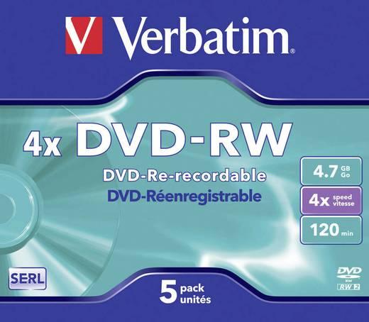 DVD-RW disc 4.7 GB Verbatim 43285 5 stuks Jewelcase Herschrijfbaar