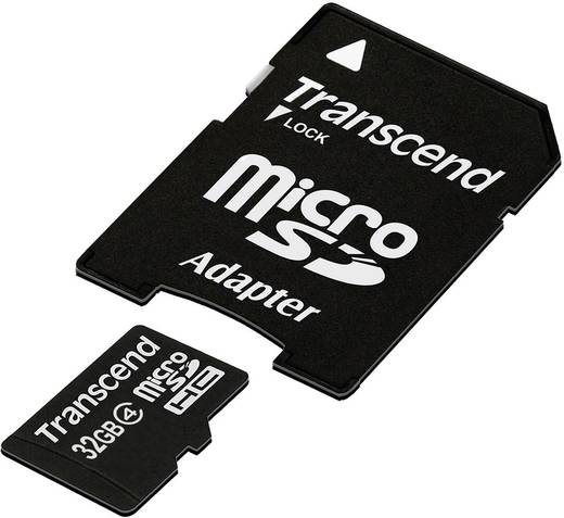 Transcend Standard 32 GB microSDHC-kaart Class 4 incl. SD-adapter