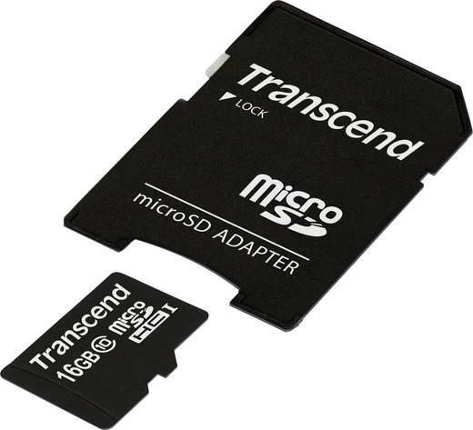 Transcend Premium 16 GB microSDHC-kaart Class 10, UHS-I incl. SD-adapter