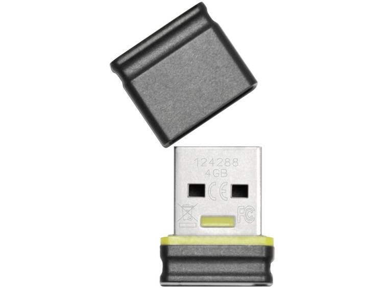 Platinum Mini USB-stick 4 GB Zwart, Geel 177534 USB 2.0