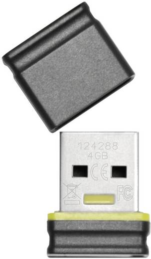 Platinum Mini 4 GB USB-stick Zwart, Geel USB 2.0