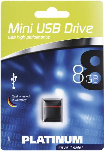 Platinum Mini 8 GB USB-stick Zwart, Rood USB 2.0
