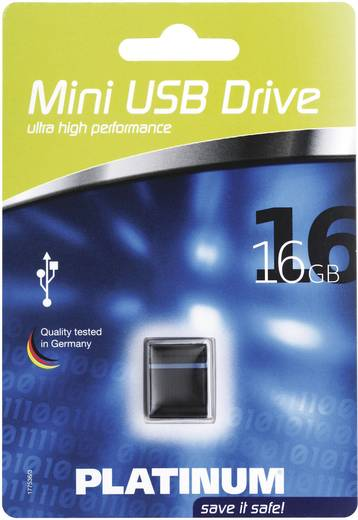 Platinum Mini 16 GB USB-stick Zwart, Blauw USB 2.0