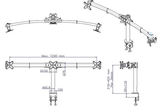 """SpeaKa Professional 3-voudig Monitor-tafelbeugel 33,0 cm (13"""") - 61,0 cm (24"""") Kantelbaar en zwenkbaar, Roteerbaar"""