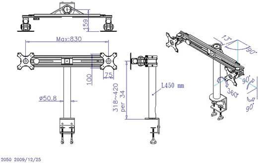 """SpeaKa Professional 2-voudig Monitor-tafelbeugel 33,0 cm (13"""") - 68,6 cm (27"""") Kantelbaar en zwenkbaar, Roteerbaar"""