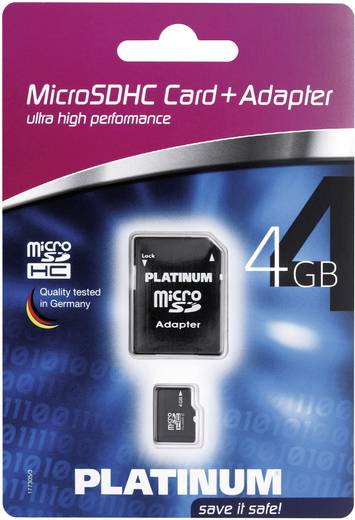 Platinum micro SDHC-geheugenkaart 4GB Class 6 incl. SD-adapter