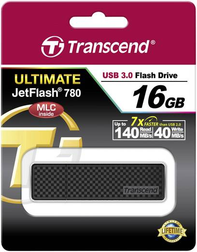 Transcend JetFlash® 780 16 GB USB-stick Zwart USB 3.0