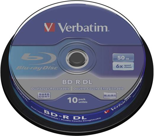 VerbatimBlu-ray BD-R DL-schijf4374610 stuks50 GB 6x