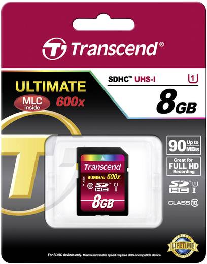 Transcend Ultimate SDHC-kaart 8 GB Class 10, UHS-I