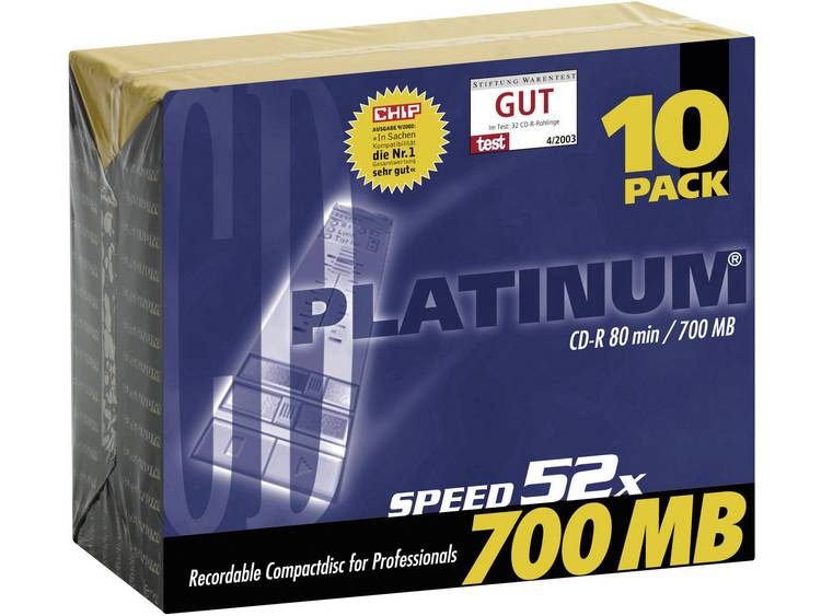 PlatinumCD-schijf10014410 stuks700 MB80 min.N/A 10 stuks slimcase