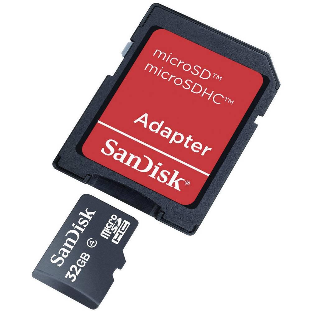 Geheugenkaart Sandisk Micro SDHC 32Gb + foto adapter zwart