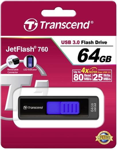 Transcend JetFlash 760 64 GB USB-stick Zwart USB 3.0