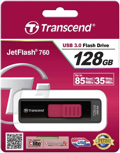 Transcend JetFlash 760 128 GB USB-stick Zwart USB 3.0