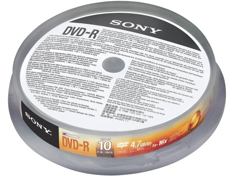 DVD-R disc 4.7 GB Sony 10DMR47SP 10 stuks Spindel