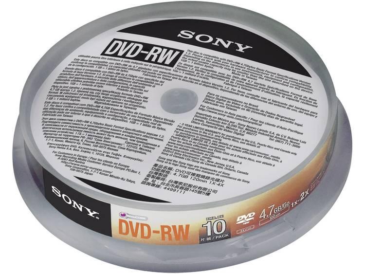 DVD-RW disc 4.7 GB Sony 10DMW47SP 10 stuks Spindel Herschrijfbaar