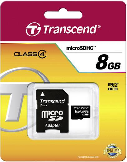 Transcend Standard 8 GB microSDHC-kaart Class 4 incl. SD-adapter