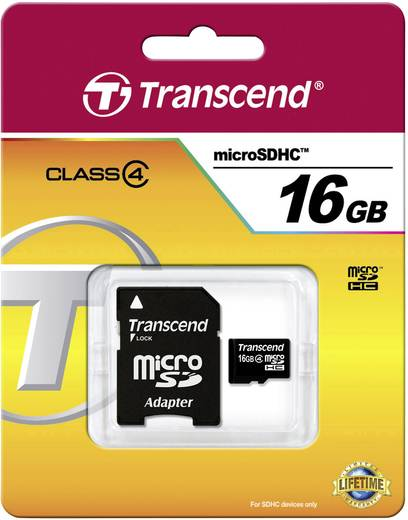 Transcend Standard 16 GB microSDHC-kaart Class 4 incl. SD-adapter