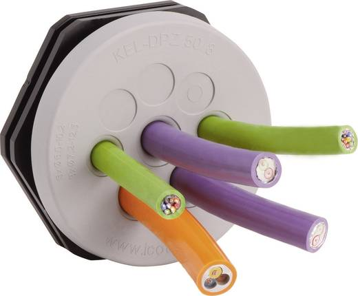 Kabeldoorvoeringsplaat Klem-Ø (max.) 12.5 mm Polyamide, Elastomeer Grijs Icotek KEL-DPZ 50/8 1 stuks
