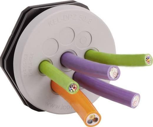 Kabeldoorvoeringsplaat Klem-Ø (max.) 6.5 mm Polyamide, Elastomeer Grijs Icotek KEL-DPZ 63/35 1 stuks