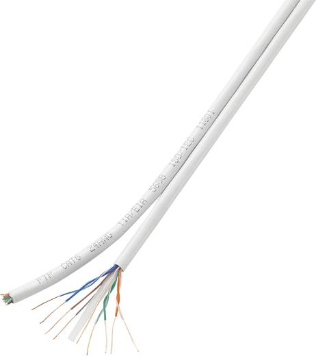 Conrad Components 419316 Netwerkkabel CAT 6 U/UTP 8 x 2 x 0.196 mm² Wit 100 m