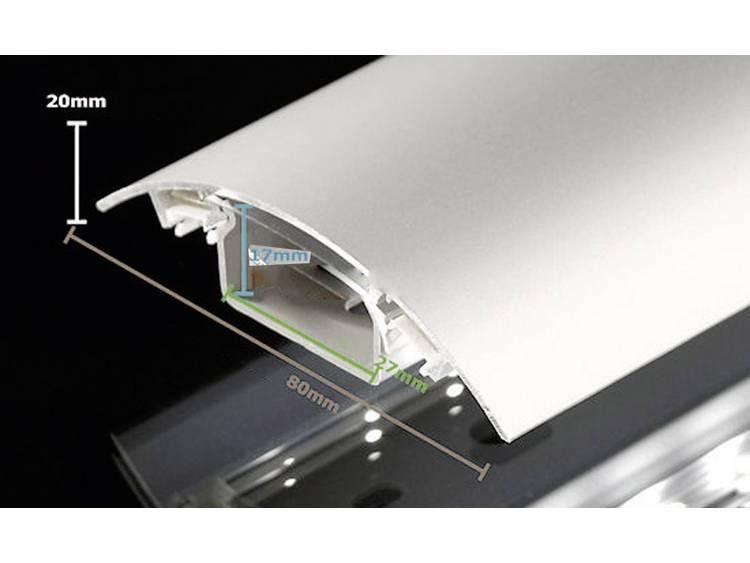 Kabelkanaal (l x b x h) 1000 x 80 x 20 mm RVS (geborsteld) Alunovo Inhoud: 1 stuks