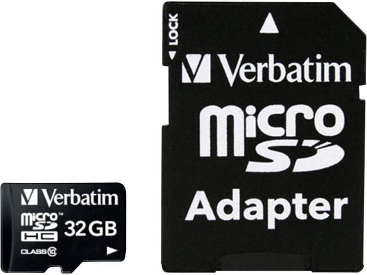 Verbatim MICRO SDHC 32GB CL 10 ADAP microSDHC-kaart 32 GB Class 10 incl. SD-adapter