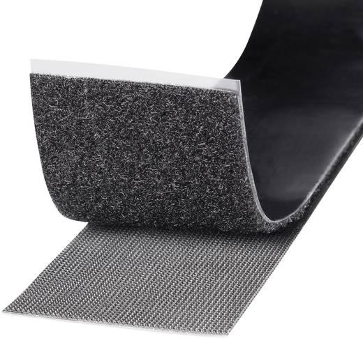 TOOLCRAFT Klittenband om vast te plakken Haak- en lusdeel, Extra sterk (l x b) 1000 mm x 50 mm Zwart 1 rollen