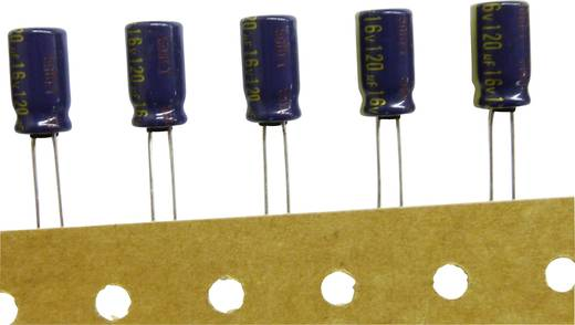 Elektrolytische condensator Radiaal bedraad 5 mm 1000 µF 10 V/DC 20 % (Ø x h) 10 mm x 16 mm Panasonic EEUFC1A102B 1 stu